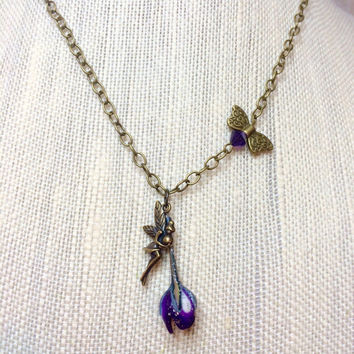 Fairy Necklace, Fairy Jewelry, Flower Necklace, Flower Jewelry, Purple Jewelry, whimsical, Fantasy, Forest, Antique Brass Jewelry, Butterfly
