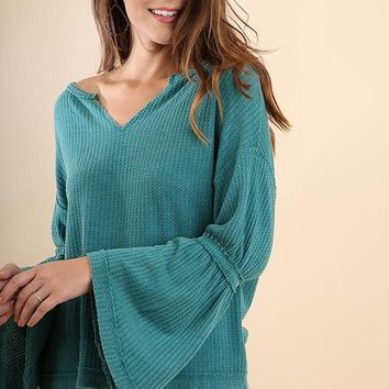 Teal V-Neck Waffle Knit Bell Sleeve Top (final sale)