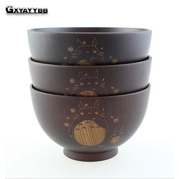 1Pcs Wooden Rice Soup Bowls Japanese Style Heat Insulation Salad Fruit Snack Bowl Natural Wood Bol Bento Lunch Box Kitchen Tool