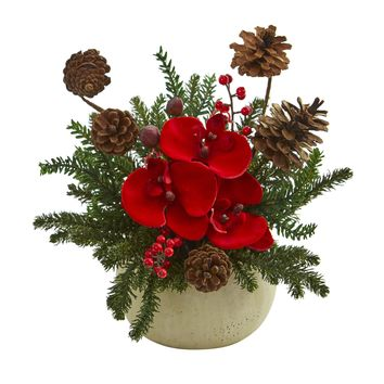 Artificial Flowers -Orchid Berries and Pine Arrangement