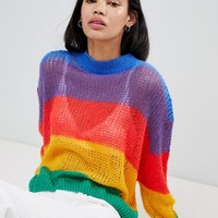 Lazy Oaf Rainbow Knitted Jumper at asos.com