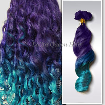 Ocean Blue Ombre Customed Hair Bundles, 100% Human Hair Extensions, Voilet Dark Purple Fade to Lagoon Blue,3 bundles hair weft one set