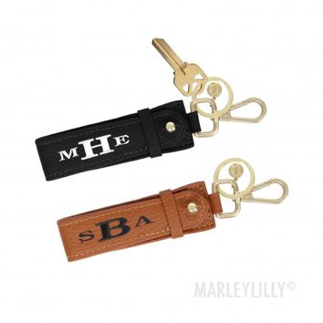 Monogrammed Leather Key Fob | Marleylilly