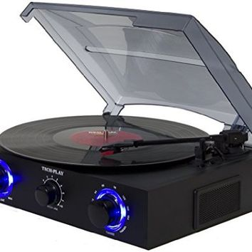 TechPlay TCP2 BK, 3 Speed (33, 45, 78 RPM)turntable with pitch control, FM Radio, RCA Out Jacks, Headphone Jack, AUX input and Built-in stereo speakers. LED lights