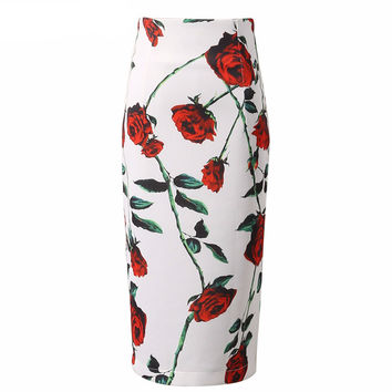 2016 Large Roses Floral Printed Pencil Skirt High Waist Back Split Wrap Office Ladies Bodycon Women Midi Skirts
