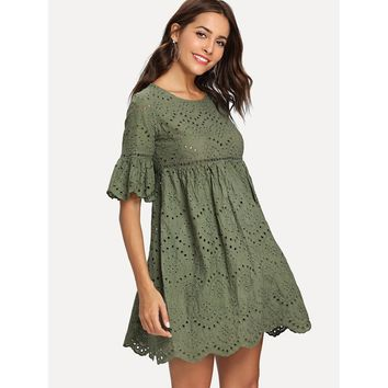 Laddering Lace Insert Eyelet Embroidered Dress Green