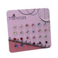 """Pack of 12 Pairs 5/32"""" (4mm) Color Small Crystal Stud Earrings Fashion Jewelry for Teens Girls Women"""