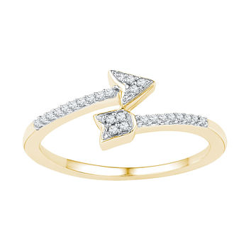 10kt Yellow Gold Womens Round Diamond Bisected Arrow Band Ring 1/12 Cttw 108622