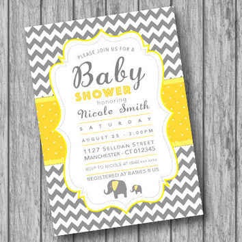 Printable Baby Shower Elephant Invitation, Baby Shower Invitation Chevron, Baby Shower Invites, Grey Yellow White, Polka Dots, Boy Girl DIY