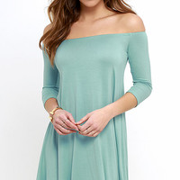 Hold the Phone Seafoam Swing Dress