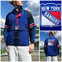 Vintage 1980's New York Rangers NHL Starter Jacket - Officially Licensed NHL Coat - Embroidered Patches - Red, White, & Blue - Size Small