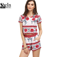 SheIn Womens Casual Clothes Ladies New 2016 Summer Round Neck Floral Print Short Sleeve Crop Top With Shorts Suits Two Sets