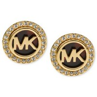 Michael Kors Gold-Tone Tortoise and Pave Logo Stud Earrings | macys.com
