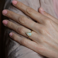 Opal Engagement Ring, Gold Engagement Ring, Pear Engagement Ring, Pave Diamond Ring, 18k Solid Gold