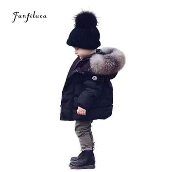 Fanfiluca Baby Winter Warm Coats Kids Boy Girl Thick Hooded Jacket Cotton Parka Child Padded Thermal Snowsuit Fur Collar Clothes