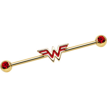 Red Gem Gold Plated Licensed Wonder Woman Logo Industrial Barbell | Body Candy Body Jewelry