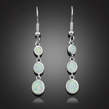 White Opal Drop Link Earrings