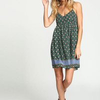TEAL SCARF PRINT BABYDOLL CHIFFON DRESS