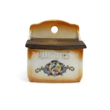 French Matchbox Holder. French Country. French Porcelain Canister. Kitchen Storage. Porcelain Kitchen Container. Rustic Decor. Porcelain Box