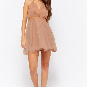 Tulle Halter Fit & Flare Dress