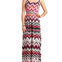 X-BACK CHEVRON PRINT MAXI DRESS