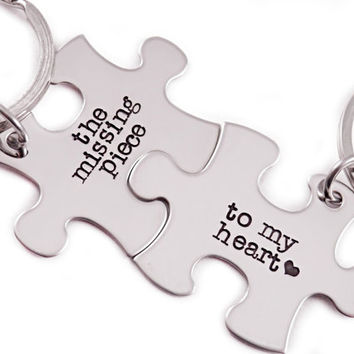 The Missing Piece To My Heart Puzzle Piece Key Chain Set of 2- Hand Stamped Stainless Steel - Couple Key Chain Set - Puzzle Keychains
