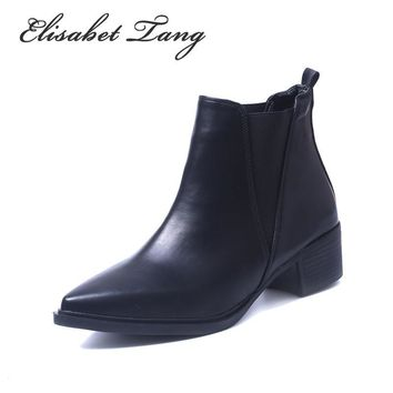 Elisabet Tang Low Heel Fashion Chelsea Sexy Pointed Toe Ankle Boots Slip-on Shoes Wome