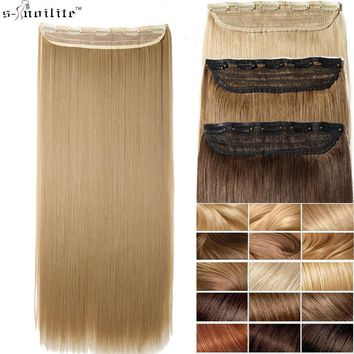 SNOILITE 24inch Synthetic Hair Piece Long Straight Clip in Hair Extension One Piece Half Full Head clip ins Hairpiece for women