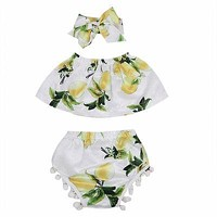 Baby Girls Clothing Set Infant Baby Girl Off Shouler Tube Top +Tassel Shorts +Headband Boho Beach Outfits 3PCS set