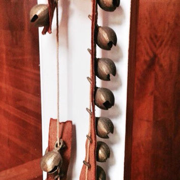 Antique Sleigh Bells on Leather Strap / Jingle Bells / Antique Christmas Brass Bells / Horse Sleigh