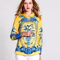 Runway Designer Luxury Print Blouse Womens High Quality Floral