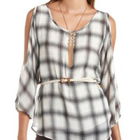 Cold Shoulder Belted Plaid Tunic Top by Charlotte Russe - Multi