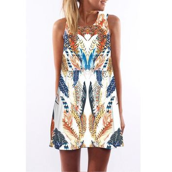 New digital print round neck Amazon hot dress