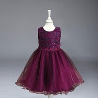 Retail Rose Floral Embroidery Flower Girl Dresses With Beading Kids Prom Dresses Pageant Dresses For Little Girls  L977