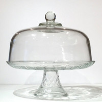 "Glass Domed Lid Cake Stand, Vintage Glass Cake Stand Pedestal 12"" With Glass Cover Lid, Food Display Catering Cooking Country Cottage"