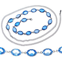 Aphrodite Amore Blue Gem Adjustable Belly Chain | Body Candy Body Jewelry