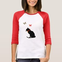 Pretty Black An Coral Butterfly And Cat Tee Shirt