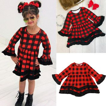 US Stock Baby Toddler Kid Girls Red Black Plaid Dress Princess Christmas Pageant