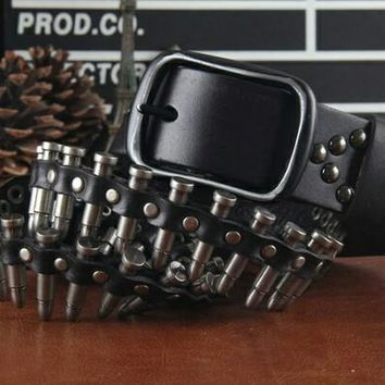 Bullet Belt with Rivet and Skull - 4 Colors Available