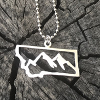 Sterling Silver Montana Mountains Necklace on ball chain
