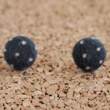 Polka Dot Earrings - handmade fabric button studs post recycled scrap cute small jewelry FREE shipping to USA