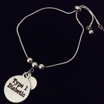 Medical Alert Bracelet Type 1 Diabetic Adjustable Bolo Bracelet Stainless Steel Adjustable Bracelet Slider Charm Bracelet Gift One Size Fits All