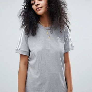 adidas Originals adicolor Three Stripe T-Shirt In Grey at asos.com