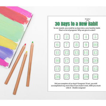 30 Days to a New Habit Worksheet (PRINTABLE - INSTANT DOWNLOAD) // Self Care, Productivity, Productive, Daily Planner, Mental Health Planner