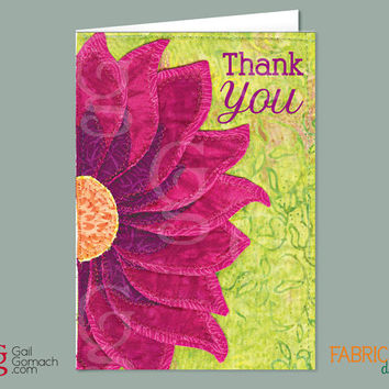 THANK YOU Note, Quilted Greeting Card, Uplifting Card, Purple Cone Flower, Sunflower Card, Printed on Cardstock, Blank, 5 x7 w/ envelope