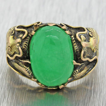 1920s Antique Art Deco Estate 14k Solid Yellow Gold Chinese Jade Dragon Ring