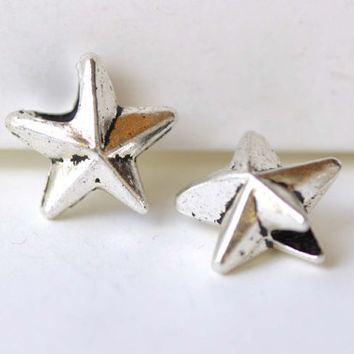 Antique Silver Star Large Hole Beads  15mm Set of 20 A8261