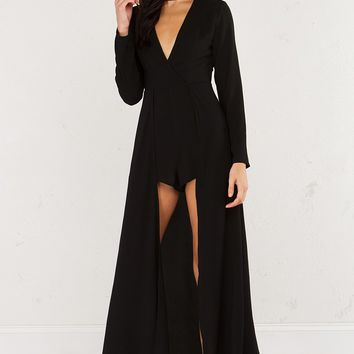 Long Sleeve Romper with Attached Train in Black