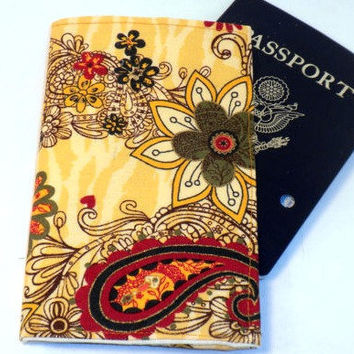 Paisley Passport case Yellow flower paisley by redmorningstudios