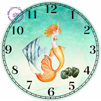 """Fantasy Mermaid with Seashells and an Angelfish Art - -DIY Digital Collage - 12.5"""" DIA for 12"""" Clock Face Art - Crafts Projects"""